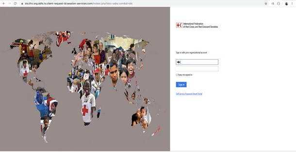 Fake login page for employees of the International Federation of Red Cross and Red Crescent Societies.